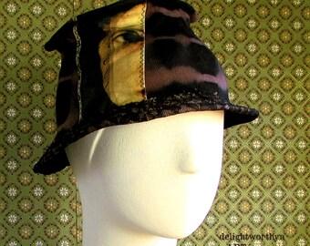 Black Brown Tilt Menswear Inspired Wearable Art Cotton Hat