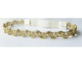 Gold Headband / Gold Braided headband / wedding headband / girls headband / birthday headband / thin headband/ boho / toddler headband