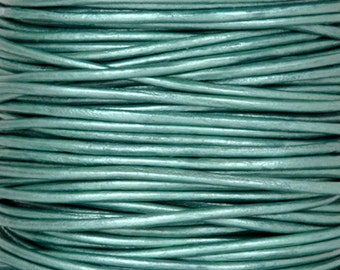 Leather-1.5mm Round Cord-Soft-Metallic Truly Teal-2 Meters