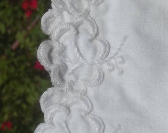 Vintage French Chemise Dress White nightie Cotton shift Handmade lace embroidery olive leaves