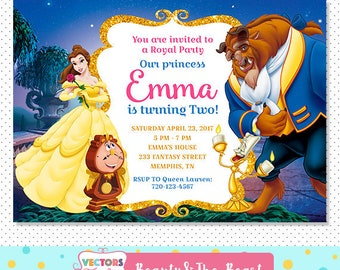 Beauty And The Beast Invitation, Beauty And The Beast Party, Beauty And The Beast Invite, Beauty And The Beast Birthday