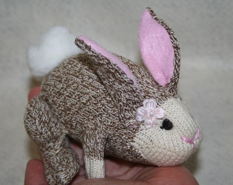 Handcrafted Miniature Sock Monkey Mini Lop Bunny Rabbits