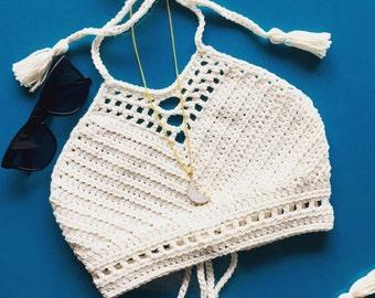 Crochet festival top, bikini top, halter top, crochet bikini, MADE TO ORDER