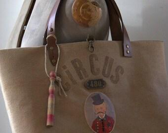 """Large tote bag Brown """"Circus Ma"""""""