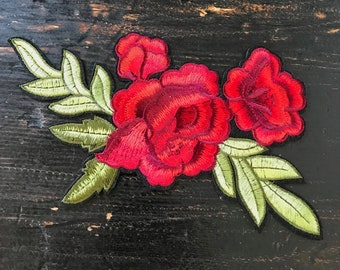 1980's Red Roses Embroidered Patch