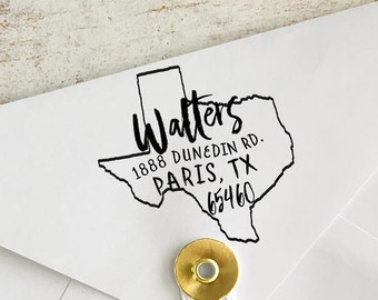 Custom Texas Address Stamp, Personalized Texas Return Address Stamp, State Stamps