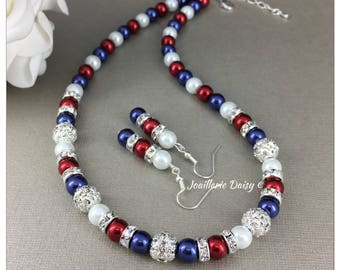 Patriotic Jewelry Red White and Blue Necklace Set American Flag Jewelry Pearl Jewelry Patriotic Gift July 4th USA Independence Day