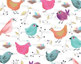 Birds Nests fabric by Samossie - Cotton/ Polyester/ Jersey/ Canvas/ Digital Printed