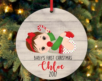 Baby's Girl First Christmas Ornament, Personalized Christmas Ornament, Custom Ornament, Brunette Baby Girl Christmas Ornament (0062)