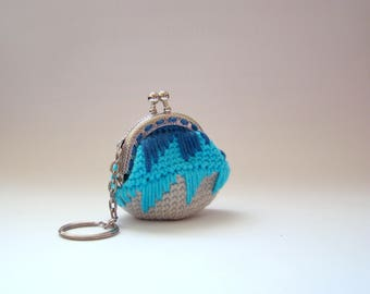 Grey Blue purse for women coin purses crochet coin purse coin purse keychain mini coin purse coin purse with keychain money bag
