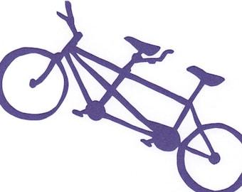 purple tandem bike card