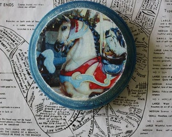 Hand Painted, Horses, Carousel, Antique, Blue, Read, White, 4 x 4, Round, Wood, Original, Mixed Media, Miniature, Affordable, Art