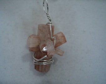Pendant Mini Aragonite Cluster in Sterling Silver Wire Wrap (635)