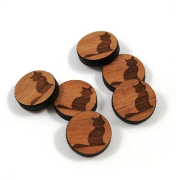 Laser Cut Supplies- 8 Pieces.Black Cat Charms - Laser Cut Wood Halloween -Earring Supplies- Little Laser Lab Sustainable Wood Products