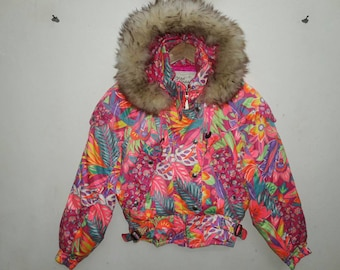 Sale 30%!! Ellesse Italy Hoodie Jacket Pink Multicolor Floral Women ski winter Small Size