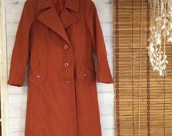 Vintage - Wool Pea Coat Fitted Jacket Lined Long Trench Coat Orange Womens Small Medium