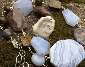 One of a Kind Chunky Stone Necklace in Blue Lace Agate Blue Chalcedony Pietersite Bronzite and Sterling Silver