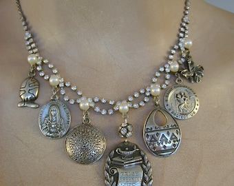 The Speaker - Rhinestones Pearls Sterling Silver Charms 1926 Speaking Medal Catholic Medals Recycled Assemblage Jewelry Necklace