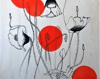 Giclee fine art print of illustration of poppy on wood