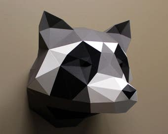 Heidi the Raccon - Papercraft, DIY Kit, Woodland Nursery, Raccoon, Wall Decor, Low Poly, DIY Paper Sculpture, Woodland Animals, Paper Trophy