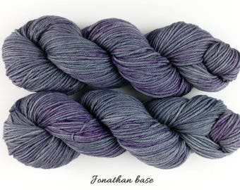 Purple Moon - gray and purple variegated hand dyed yarn - fingering, sock, DK, worsted weight - dyed to order