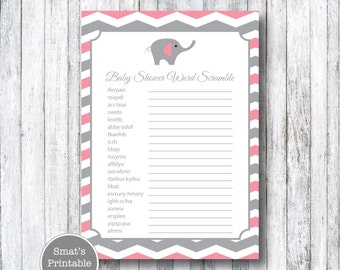 Pink Elephant Baby Shower Word Scramble Game Cards - PRINTABLE Chevron - Girl's Shower - Instant Download - Baby Shower Games - Gray Grey