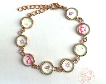 Vintage floral shabby chic bracelet / rose gold floral jewellery / purple butterfly / forget me not / pale green / rose gold bracelet