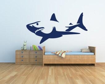 Shark, shark decal, shark sticker, shark wall decal, great white shark, shark wall art, underwater decal, shark week, boy room decor, beach