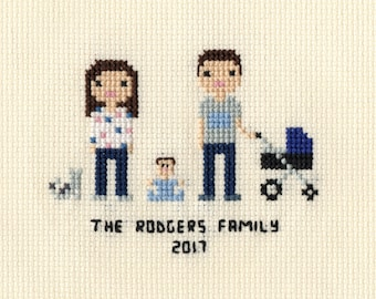 New Baby Cross Stitch Family Portrait in Pixel Art Style (Framed)
