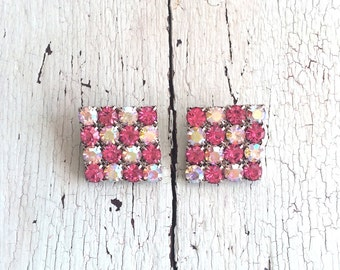 Vintage Checkerboard Rhinestone Clip Earrings