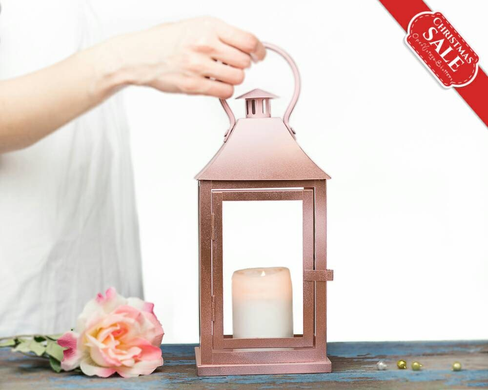 Rose Gold Lantern Centerpiece, Rose Gold Wedding Decor, Pink Gold ...