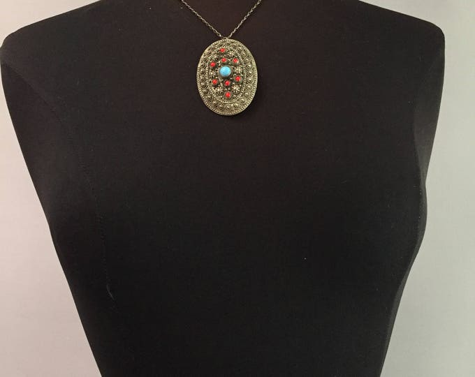 ethnic etruscan moroccan brooch/necklace on silver chain