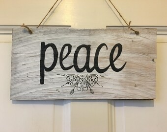 PEACE Wooden Sign Made Out of Recycled Shingles