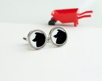 Shetland Sheep Dog Cufflinks - Dog cufflinks, Men's Cufflinks,  Husband, Wedding gift, Novelty cufflinks for him