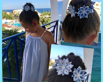 Handmade School Flower Bun Wrap/Top Knot in Blue&White, Kanzashi Style, FREE UK Delivery
