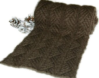 """Qiviut Scarf for Men (or Women), hand knit with cables """"Hernando Island"""" - ideal gift for any occasion! MADE TO ORDER"""