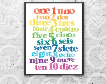 "Instant Download - Printable - 8""x10"" Art Print - Spanish and English Numbers - Nursery Decor - Bilingual Baby - Colorful - Educational"