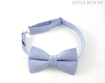 Cotton Blue Chambray boy bow tie, blue bow tie, casual blue with white undertones bow tie, cotton bow ties for toddlers