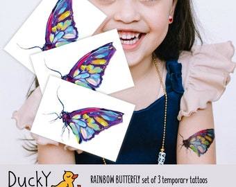 Set of 3 temporary tattoos Rainbow Butterfly. Realistic butterfly fake tattoo. Rainbow butterfly party favors and butterfly goodie bag