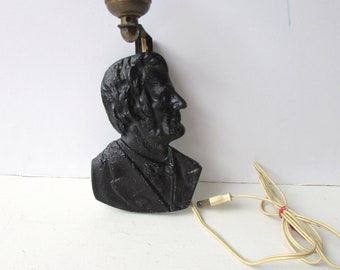 Vintage Abe Lincoln Cast Iron Wall Sconce - Abe Lincoln Profile Light - Electric Wall Sconce Cast Iron Abe Lincoln -
