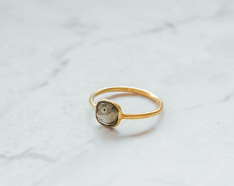 Gold Plated Square Labradorite Moon Stone Ring, Gold Labradorite Moon Stone Ring, Labradorite Moon Stone Ring, Gold Stacking Minimalist Ring