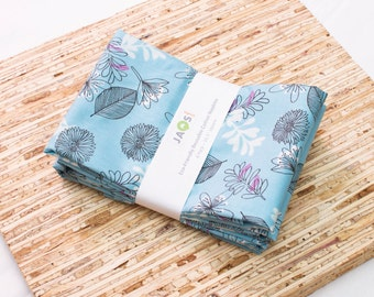 Large Cloth Napkins - Set of 4 - (N4670) - Blue Leaf Floral Whisper Modern Reusable Fabric Napkins