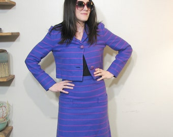 1960s Purple Wool Skirt Suit with Cropped Jacket  / High Waisted and Lined  / Royal Purple with Thin Horizontal Fuschia Stripes / Size 4 - 6