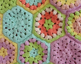 Retro Hand Crocheted Bag Pastel Seventies 70s Granny Square Tote Bamboo Handles Candy Colours Vintage Knitting Bag Crafts Festival Wear