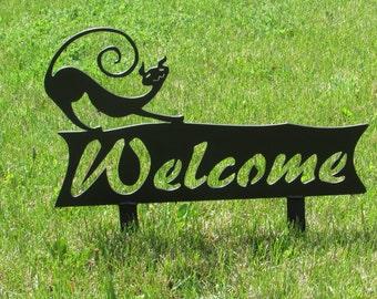 Cat , Welcome Sign, Metal Art, Outdoor, Whimsical, Garden Art