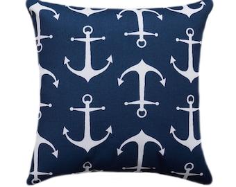 Blue Outdoor Pillow, Nautical Pillow Cover, Navy Anchor Outdoor Throw Pillow Cover, Sailor Oxford Pillow, Navy Accent Pillow, Patio Pillow