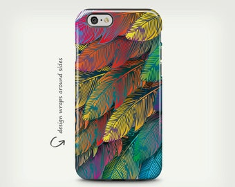 Feathers, iPhone X Case, iPhone 8 Case, Colorful Feathers, Tough Case, iPhone 6 Case, iPhone 7 Case, iPhone 7 Plus Case, Galaxy S8 Case