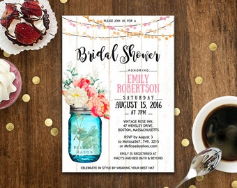 Mason Jar Bridal Shower Invitation Printable Watercolor Flowers Bridal Brunch, Rustic Bridal Tea Party Invite INSTANT DOWNLOAD Editable PDF