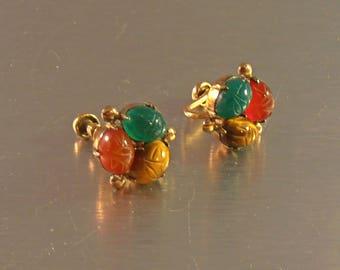 Carved Gemstone Scarab Earrings, WRE Gold Filled, Egyptian Revival, Screw Back, Jade Carnelian Tiger Eye
