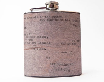 """Vintage Typewriter Real Wood Flask : Oscar Wilde Quote """"looking at the stars"""" Wedding Gift, Gifts for Men, Groomsmen gift, father, boyfriend"""